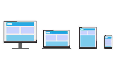 Electronic devices with white, desktop computer, laptop, tablet and mobile phones Illustration.