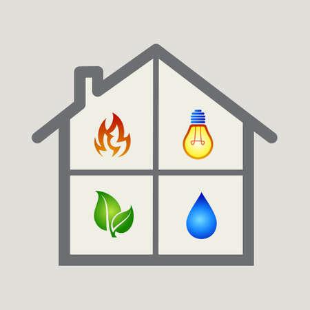 incendio casa: Energ�a verde agua Fuego de la casa, icono vector.
