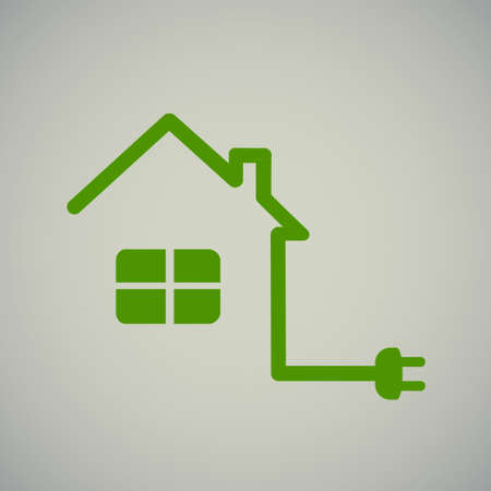 electric outlet: green house with socket, electricity, illustration, energy. Illustration