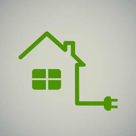 groen huis met socket, elektriciteit, illustratie, energie. Stock Illustratie