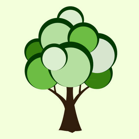 Stylized vector tree, green, illustration, nature, abstract.