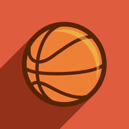 basketball flat design, sport, vector, orange, illustration.
