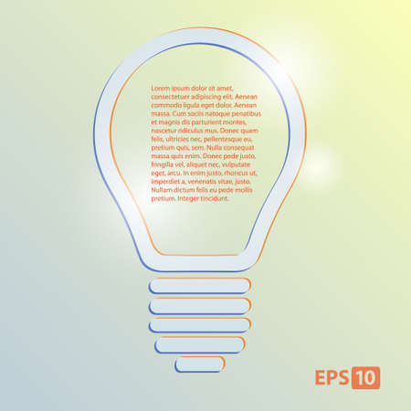 lamp with text, vector, bulb, concept, illustration. Vector