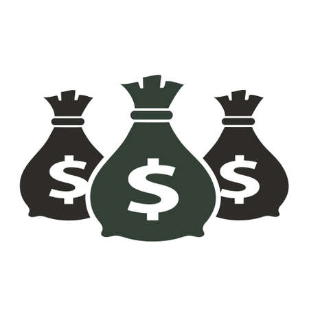 Money icon with three bags, vector illustration.