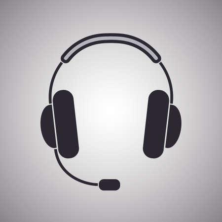 Headphones icon symbol, vector, stereo, listen, music.