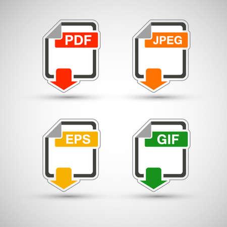 file format: Web development file format flat icon set