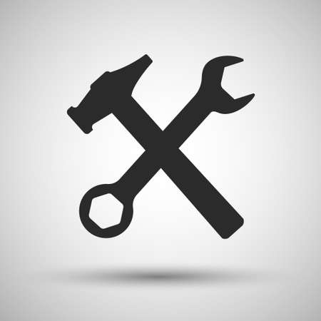 Wrench and hammer. Tools icon. Vector