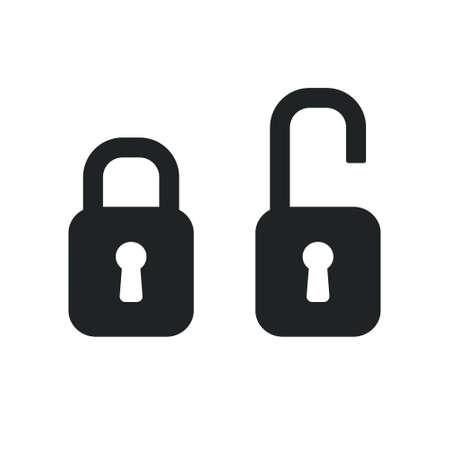 black and white lock: vector black lock isolated on white background, security symbol Illustration