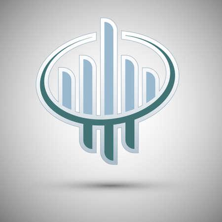 Company, concept vector logo design template. Creative business symbol. Skyscraper abstract icon. Ilustracja
