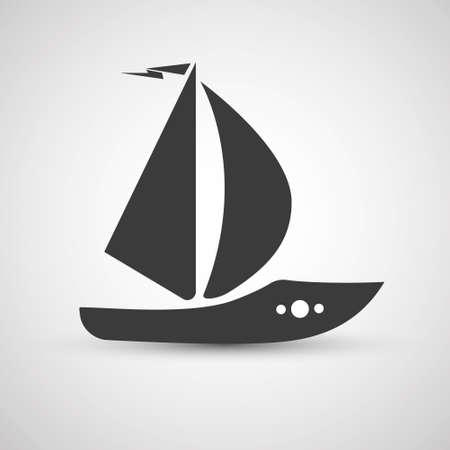 vector flat design sailing yacht boat transportation icon black isolated on white background