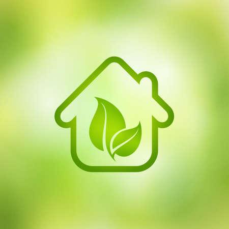 ilustración Eco House, el concepto de casa verde, ecología