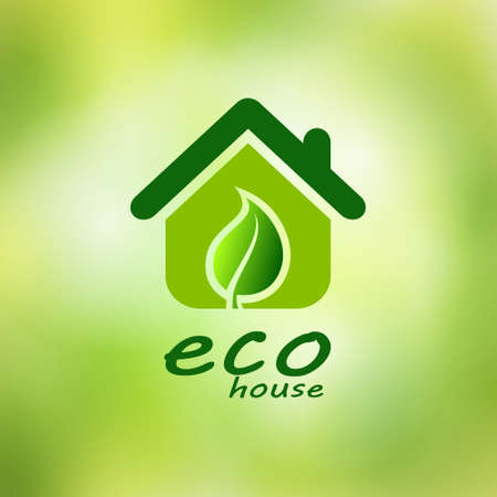 Eco house on a green background, ecology illustration.