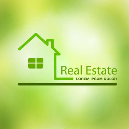 Real estate house on a green background.
