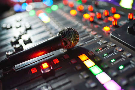DJ work at a nightclub, Music club party, Concert equipment, a mixer and DJ console. The concept of disco, entertainment, holiday. Soft focus picture