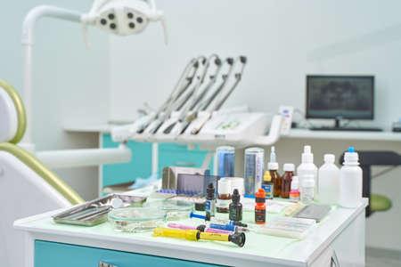 Interior of a modern dental office. Dental instrument.