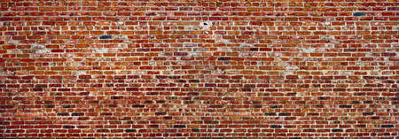 Panoramic rugged old red brown bricks wall. texture background. Фото со стока - 139852121