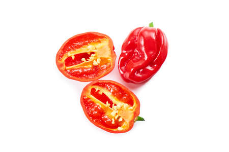 Fresh habanero peppers, isolated on white. Mexican food. Salsa Habanero. Hot peppers.