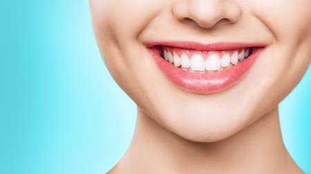 closeup of smile with white healthy teeth.