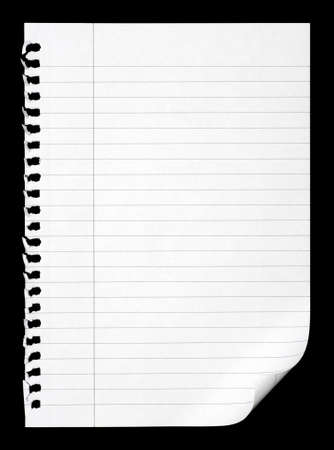 notepaper: white paper of notebook on black