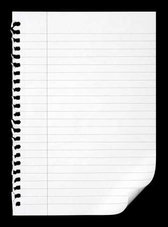 wit papier van de notebook op zwart Stockfoto