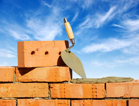 brick work: Tool for laying and bricks for construction