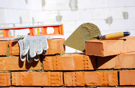 bricklayer: Tool for laying and bricks for construction