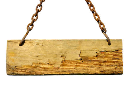 Wood sign, hanging from a chain photo
