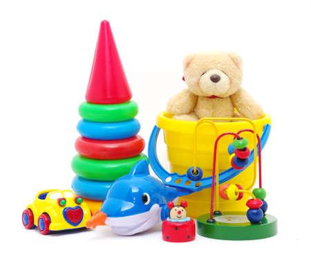 juguetes de madera: colecci�n de juguetes aislados sobre fondo blanco Foto de archivo