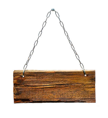 wooden signboard: Wood sign, hanging from a chain