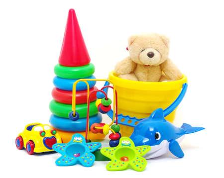 collecte de jouets isolé sur fond blanc