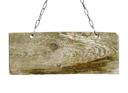 Wood sign, hanging from a chain Stock Photo - 13606648