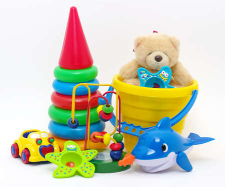 toys collection isolated on white background photo