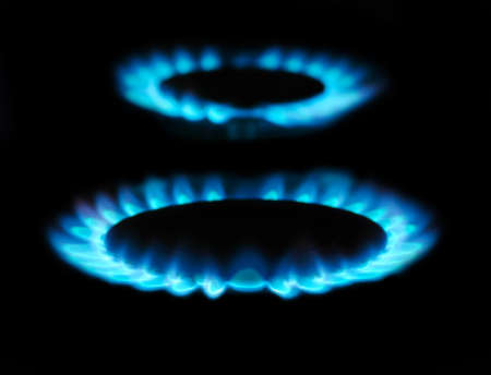 flames of gas stove in the dark Stock Photo - 14246063