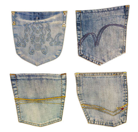 cloth back: jeans pocket isolated on white.