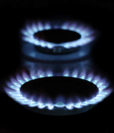 flames of gas stove in the dark Stock Photo - 17493498