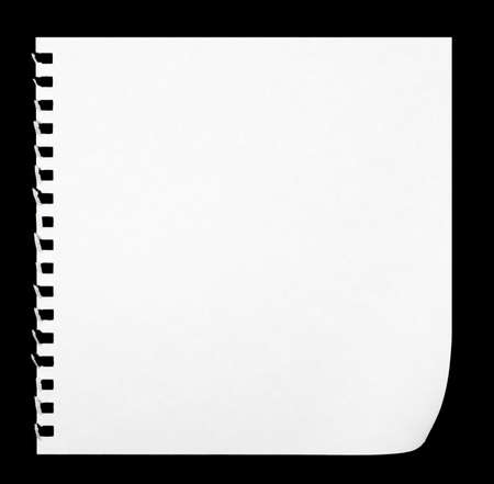 ruled paper: white paper of notebook on black