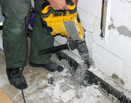 Pre�lufthammer: Jackhammer in den Arbeiter H�nden