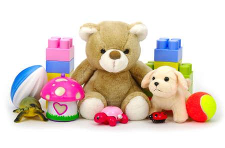 흰 배경에 고립 된 장난감 컬렉션