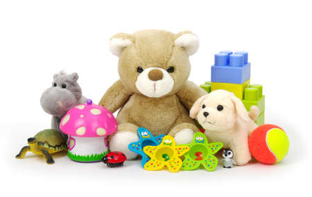 soft toys: toys collection isolated on white background