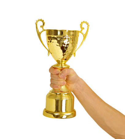 award trophy: Man holding a champion golden trophy on white background