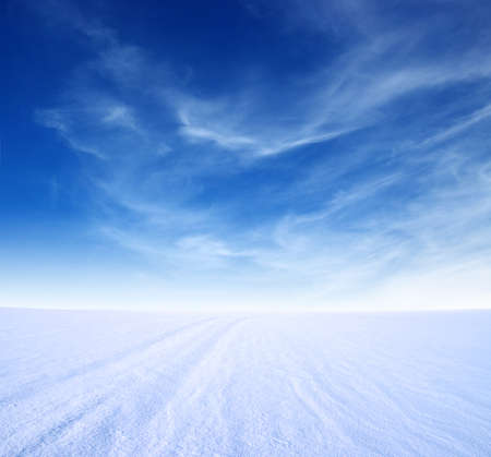 fresh snow: snow mountain and blue sky Stock Photo
