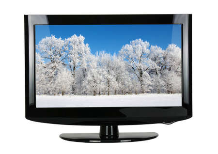 flat screen tv: blank flat screen TV set, isolated on white background