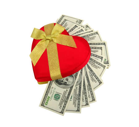 red heart and dolar .concept - the love of money photo