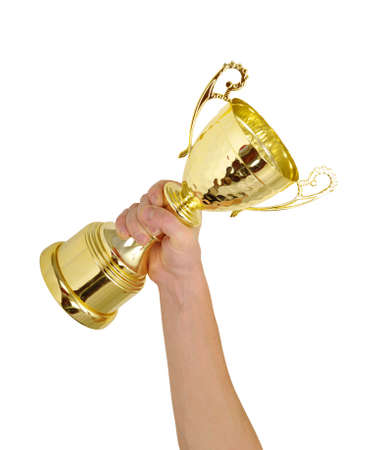 Man holding a champion golden trophy on white background photo