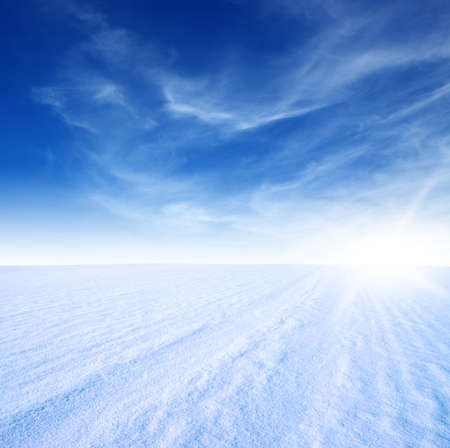 snow mountain and blue sky Stock Photo