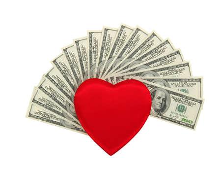 signo de pesos: corazón y dolar rojo .concept - el amor al dinero
