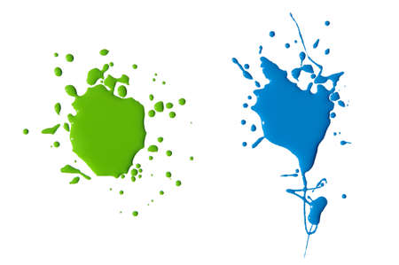 splats: splats splashes and blobs of brightly colored paint in different shapes drips isolated on white Stock Photo