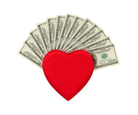 dolar: corazón y dolar rojo .concept - el amor al dinero