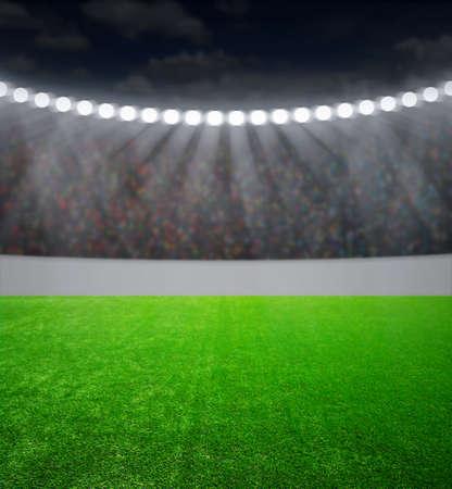 campo di calcio: lo stadio di calcio con le luci