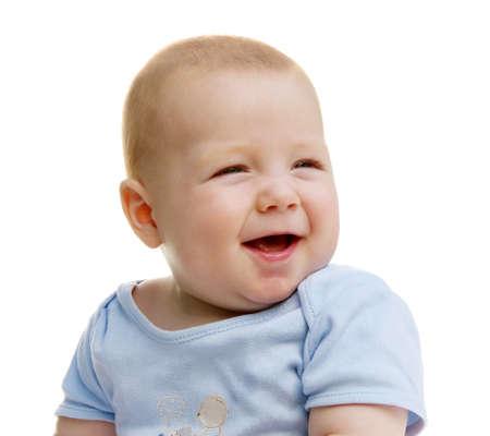 carita feliz: beb� sonriente lindo aislado en blanco